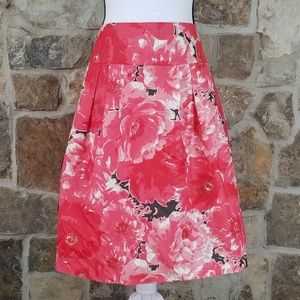 Kay Unger 14 Silk Floral Midi Skirt